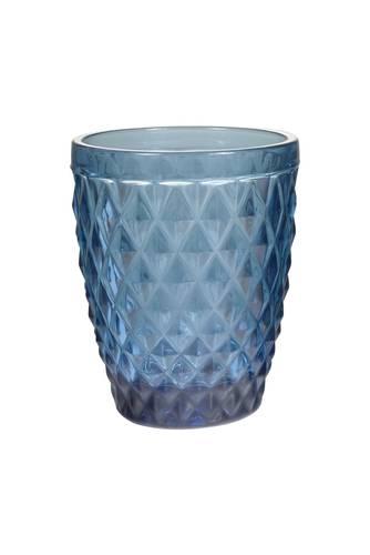 Bicchiere acqua vetro rombi blu 6pz