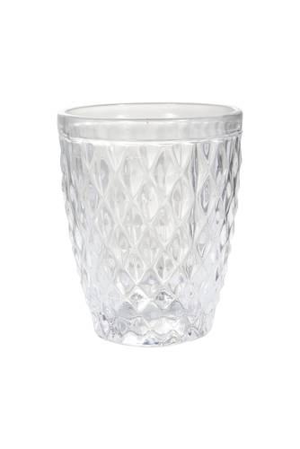 Bicchiere acqua vetro rombi trasparente 6pz
