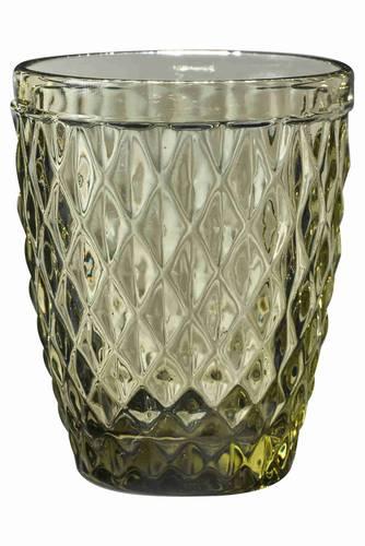 Bicchiere acqua vetro rombi verde 6pz