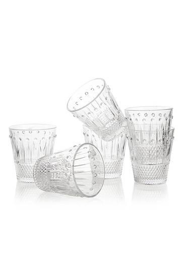 Bicchiere acqua vetro svasato gocce 6pz