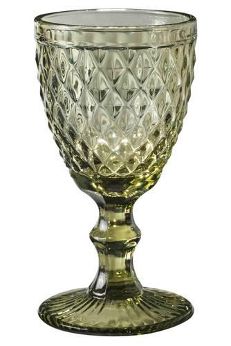 Bicchiere calice rombi verde vetro 6pz