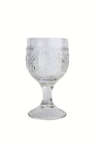 Bicchiere calice vetro trasparente rilievo fiore 4pz