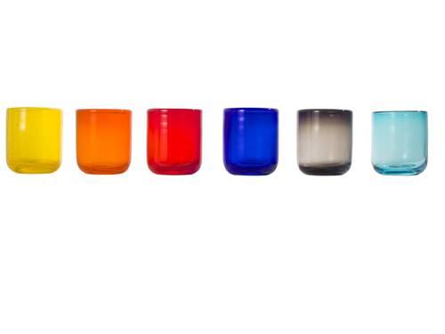 Bicchiere pasta di vetro colorata 6 pz