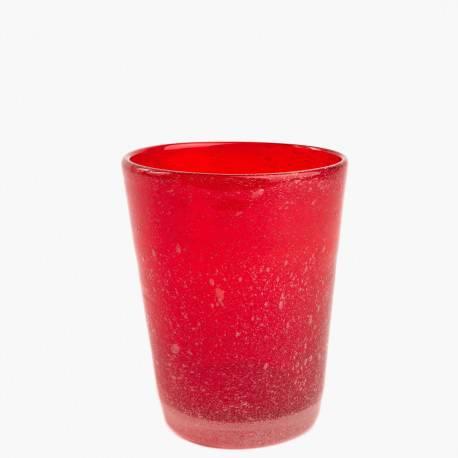 Bicchiere vetro bollicine Tonga rosso 6pz