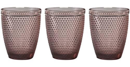 Bicchiere acqua vetro pallini rosa purple 6pz