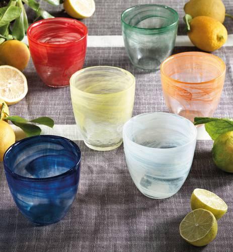 Bicchiere acqua vetro colorati shade 6 pz