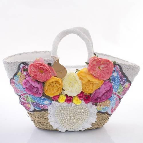 Borsa paglia mare decorata perle fiori e farfalle paillettes