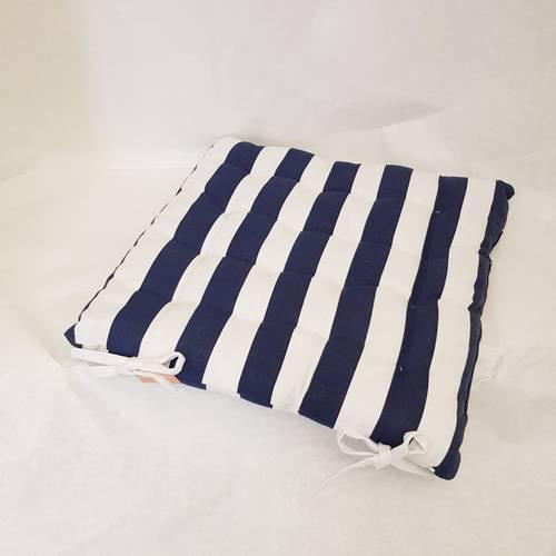Cuscino per sedia righe bianche blu