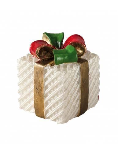 Candela natalizia pacchetto regalo fiocco rosso e verde 10h