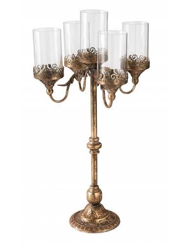 Candeliere 5 fiamme liberty metallo oro antico e vetro
