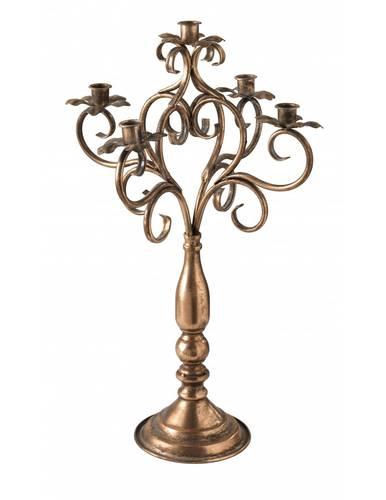 Candeliere 5 fiamme riccioli metallo oro antico