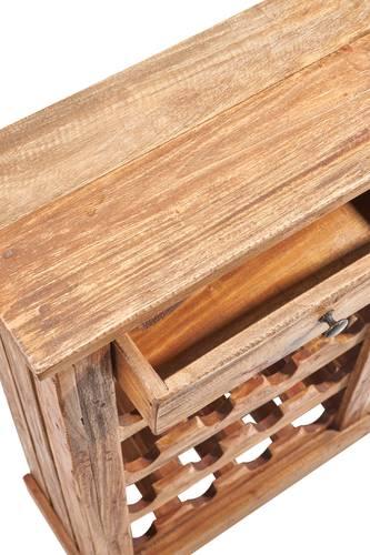 Cantinetta portabottiglie con cassetto legno riciclato 16 posti
