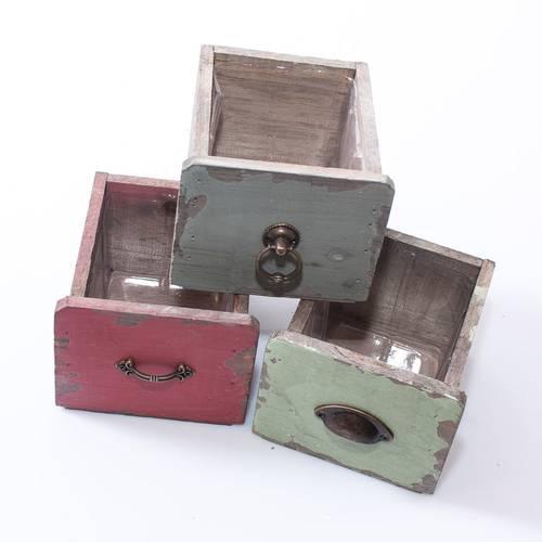 Cassetta cassetto legno colorato 12x13x10h