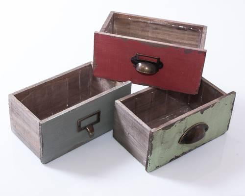 Cassetta cassetto legno colorato 22x14x11h
