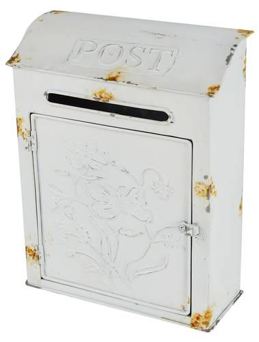 Cassetta da posta ferro bianco decoro fiori