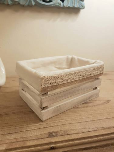 Cassetta legno bianco con fodera 20x14x10h