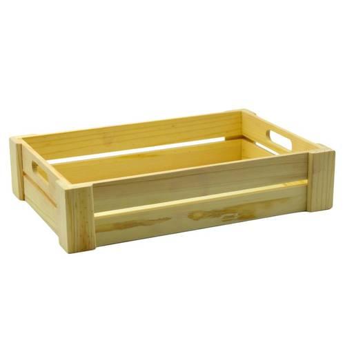 Cassetta legno naturale bassa con maniglie
