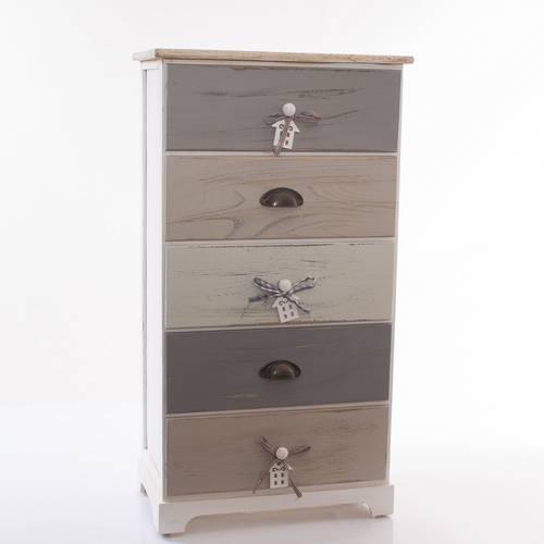 Cassettiera house legno grigio big 5 cassetti