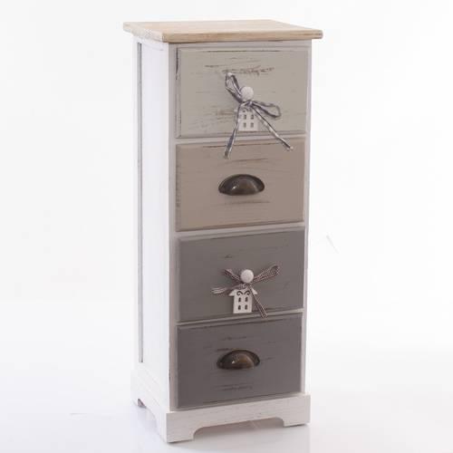 Cassettiera house legno grigio stretta 4 cassetti