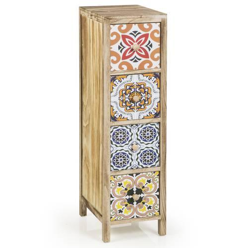 Cassettiera legno cementine colorate 4 cassetti 88h
