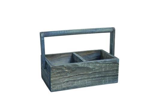 Cassettina legno blu manico e divisoria