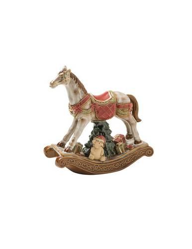Cavallo bianco dondolo con orsetto porcellana 26h