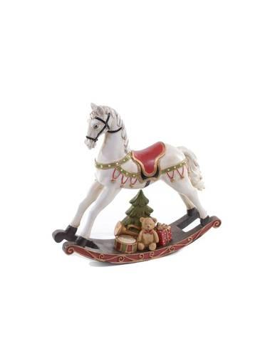 Cavallo bianco dondolo natalizio con orsetto