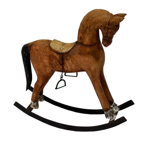 Cavallo dondolo legno sella dorata 40h