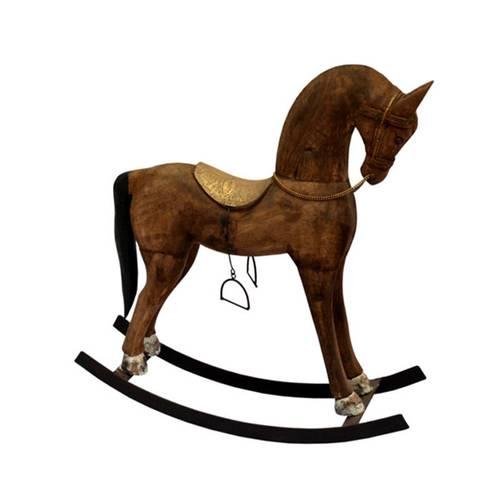 Cavallo dondolo legno sella dorata 66h