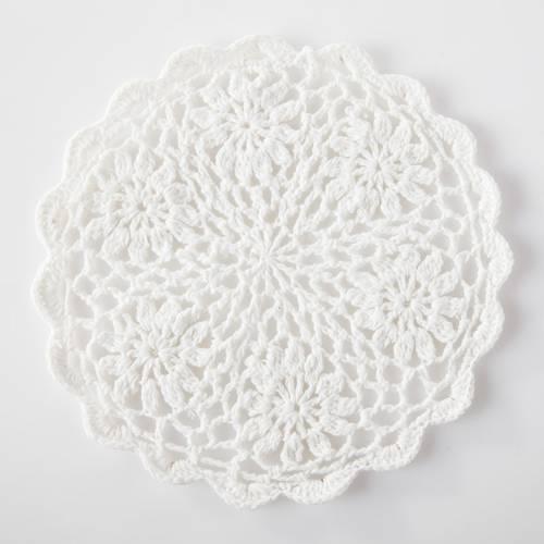Sottopentola uncinetto cotone bianco cm 18