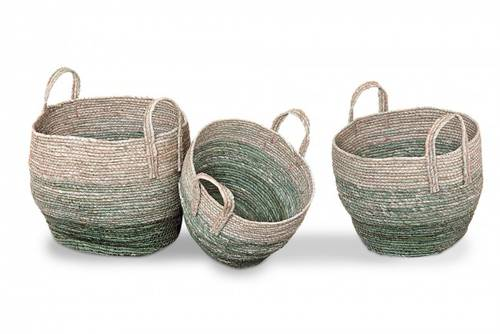 Cesto corda tondo naturale e verde con manici