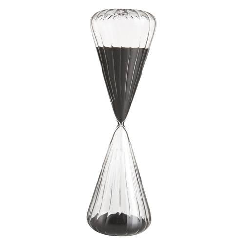 Clessidra cilindro vetro ondulato sabbia nera 60min