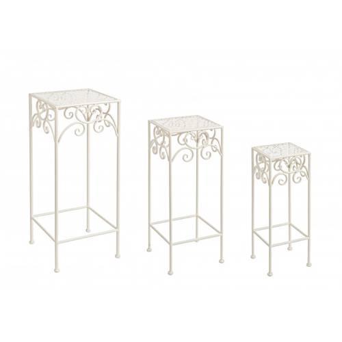 Colonna portafiori quadrata ferro bianco traforo fiori
