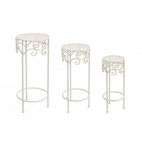 Colonna portafiori tonda ferro bianco traforo fiori