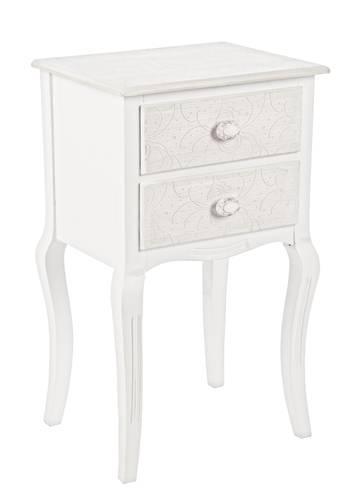 Comodino legno bianco decapato motivi floreali 2 cassetti