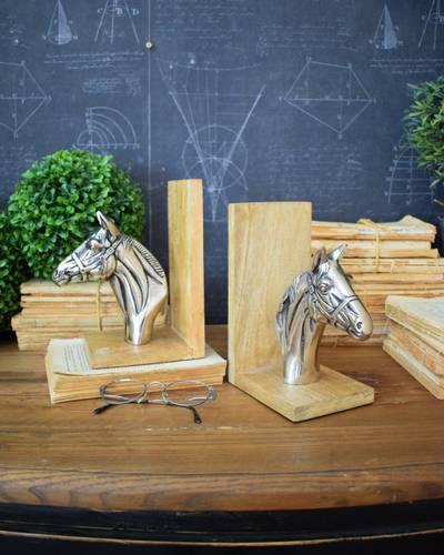 Coppia fermalibri cavalli alluminio vintage