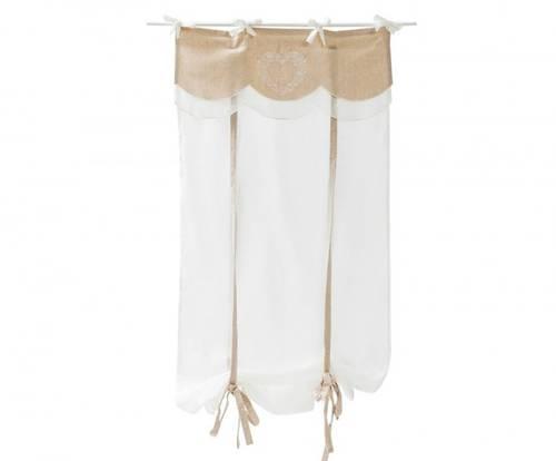 Coppia tende cotone bianco top lino ecru cuore 60x220