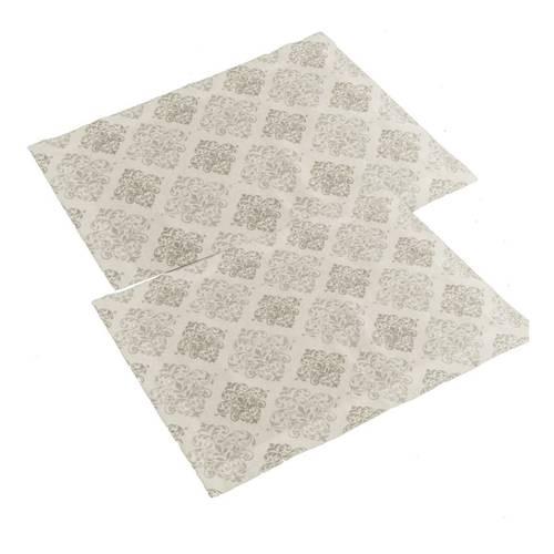Coppia tovaglietta americana cotone bianco con gigli