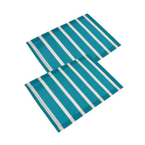 Coppia tovaglietta americana cotone blue righe bianche