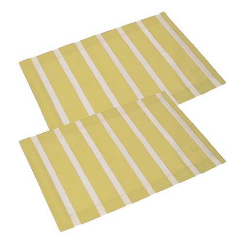 Coppia tovaglietta americana cotone giallo righe bianche