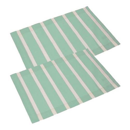 Coppia tovaglietta americana cotone verde acqua righe bianche