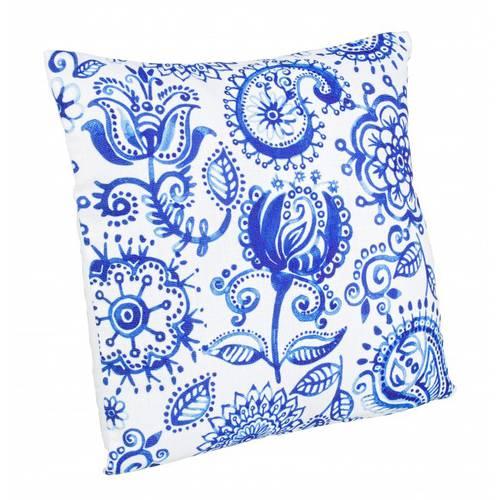 Cuscino fiori blu su fondo bianco 40x40