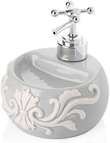 Dispenser sapone liquido tondo ceramica grigio chiaro decorato