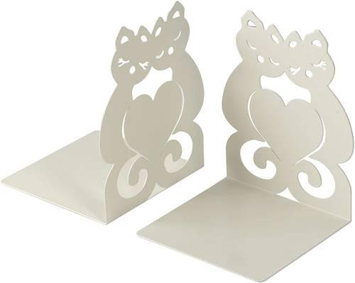 Coppia fermalibri metallo gatti grigio perla