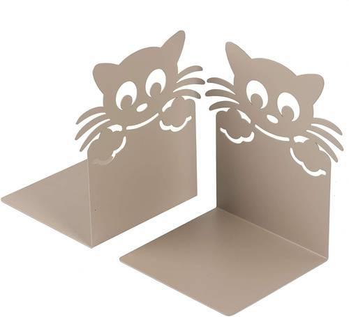 Coppia fermalibri metallo gatto tortora