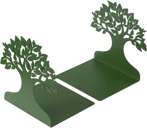 Coppia fermalibri metallo albero verde