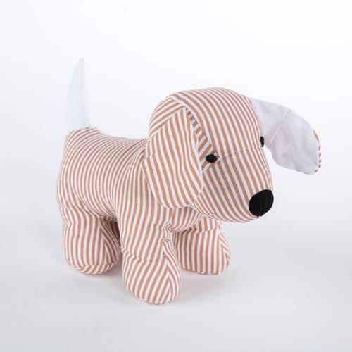 Fermaporta cane tessuto righe beige