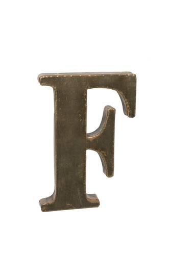 Lettera metallo F bronzo