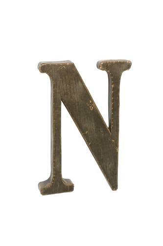Lettera metallo N bronzo