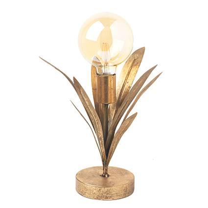 Lampada dorata foglie clivia metallo da tavolo 33h